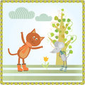 First spring flower cat and mouse looking Royalty Free Stock Photography