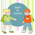 First step boy and girl going to school Stock Images