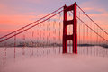 First Tower of the Golden Gate Bridge in Fog Royalty Free Stock Photo