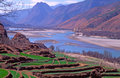 The first turn of yangtze river china starting from qinghai tibet plateau surges southeastward until it meets hengduan mountain Royalty Free Stock Photography