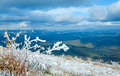 First winter snow on autumn mountain plateau Royalty Free Stock Photo