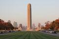 First world war memorial at dusk in autumn in downtown kansas city missouri taken Royalty Free Stock Photo