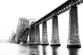 Firth of forth bridge in south queensferry edinburgh scotland black white image Stock Photos