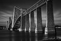 Firth of forth rail bridge in south queensferry edinburgh scotland black white image Royalty Free Stock Photography