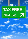 Fiscal paradise road sign or tax free concept Royalty Free Stock Photo