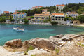 Fiscardo traditional village at Kefalonia Stock Photos