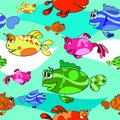 Fish background beautiful collection of seamless pattern Stock Photo