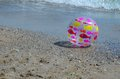 Fish ball on the beach and other toys a sunny day Royalty Free Stock Photo