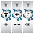 Fish banners three variations of with different geometrical designs these templates are ideal for web eps contain Royalty Free Stock Photography
