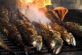 Fish barbecue - fish on fire Royalty Free Stock Photo