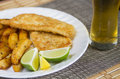 Fish and beer panko tilapia chips closeup Stock Photos