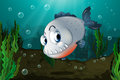 A fish with big fangs under the sea illustration of Royalty Free Stock Images