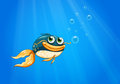A fish with a big mouth under the ocean illustration of Stock Images