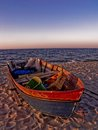 Fish boat a on the beach Royalty Free Stock Images
