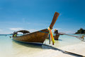 Fish boat on the beach clear sky Stock Images