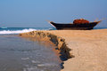Fish boat shore holiday cruiser arabian sea goa india Royalty Free Stock Photography
