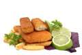 Fish breaded isolated on white Royalty Free Stock Images