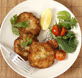 Fish cakes and salad high angle easy to make fishcakes with steamed crumbled into mashed potato parsley mix thickened with some Royalty Free Stock Photo