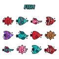 Fish cartoon concept icons