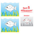Fish cartoon: Spot 5 differences! Stock Photography