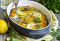 Fish casserole with vegetable and herb Royalty Free Stock Photos
