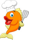 Fish chef cartoon illustration of Royalty Free Stock Image