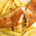 Fish chips battered cod with chunky Stock Images