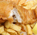 Fish and chips battered cod fillet chunky Stock Images