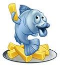 Fish and Chips Cartoon Royalty Free Stock Photo