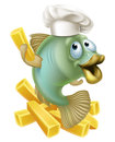 Fish and chips chartoon chef Royalty Free Stock Photo