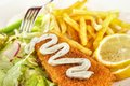 Fish and chips closeup with remoulade mayonnaise Stock Photography