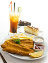 Fish and chips fillet served with tartar sauce Royalty Free Stock Photos