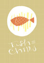 Fish and chips hand drawn dish text eps vector file background illustration in separate layers hi res jpeg included Stock Photo