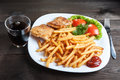 Fish and chips with lettuce tomato Royalty Free Stock Image