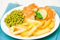 Fish and chips with peas Stock Photo