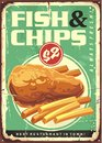Fish and chips retro ad tin sign design Royalty Free Stock Photo