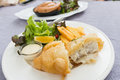 Fish and chips served on a white plate Royalty Free Stock Photo