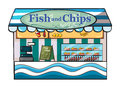 A fish and chips shop illustration of on white background Stock Image