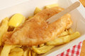 Fish chips takeaway meal and in carton or box Stock Image