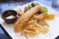 Fish and chips with tartar sauce over lettuce salad closeup Royalty Free Stock Photos