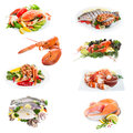 Fish collage sea food made from eight photographs on white Royalty Free Stock Image