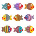 Fish collection colorful graphic cartoon childish illustration set vector eps set Stock Photos