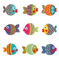 Fish collection colorful graphic cartoon childish illustration set vector eps set Royalty Free Stock Photography