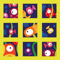 Fish collection vector illustration of cute and colorful tropical in the ocean Stock Photography