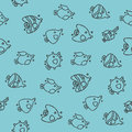 Fish concept icons pattern
