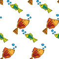 Fish contour hand drawn painted on a white background, seamless pattern Royalty Free Stock Photo