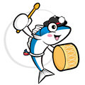 The fish cooks mascot playing the traditional music of korea ex external blue colored scombridae character design series Stock Photo