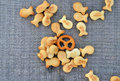 Fish crackers and pretzels pic of a Royalty Free Stock Image