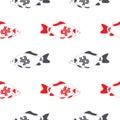 Fish crucian carp seamless pattern, isolated