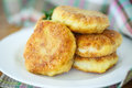 Fish cutlets fried in the corn flour on the table Royalty Free Stock Photos